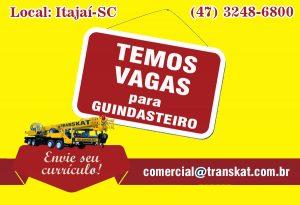 VAGA PARA GUINDASTEIRO 2020
